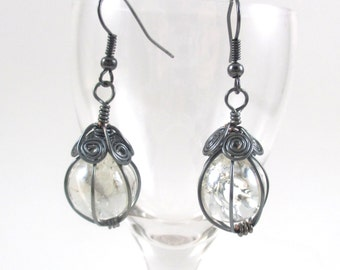 Hematite Wire Wrapped Fried Marble Earrings, Sparkly, Flat Spiral