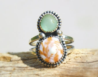 Hawaiian Puka Shell & Aqua Beach Glass Set in Sterling Silver Handcrafted Ring - Size 7