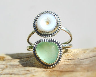 Hawaiian Puka Shell /& Aqua Beach Glass Set in Sterling Silver Handcrafted Ring Size 6.5