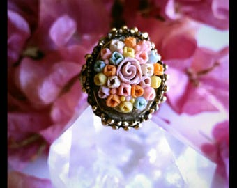 Vintage flower bouquet ring