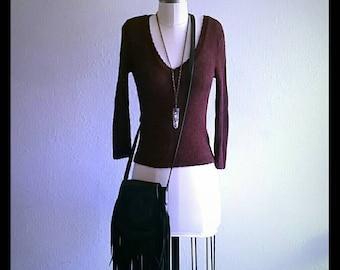 Deep burgundy sheer silky crochet mesh top