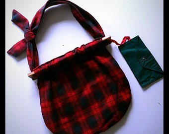VINTAGE handmade wool red and green plaid purse