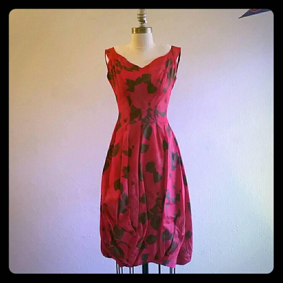 50s Red rose bubble dress