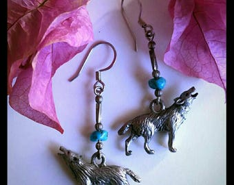 Vintage wolf dangle earrings