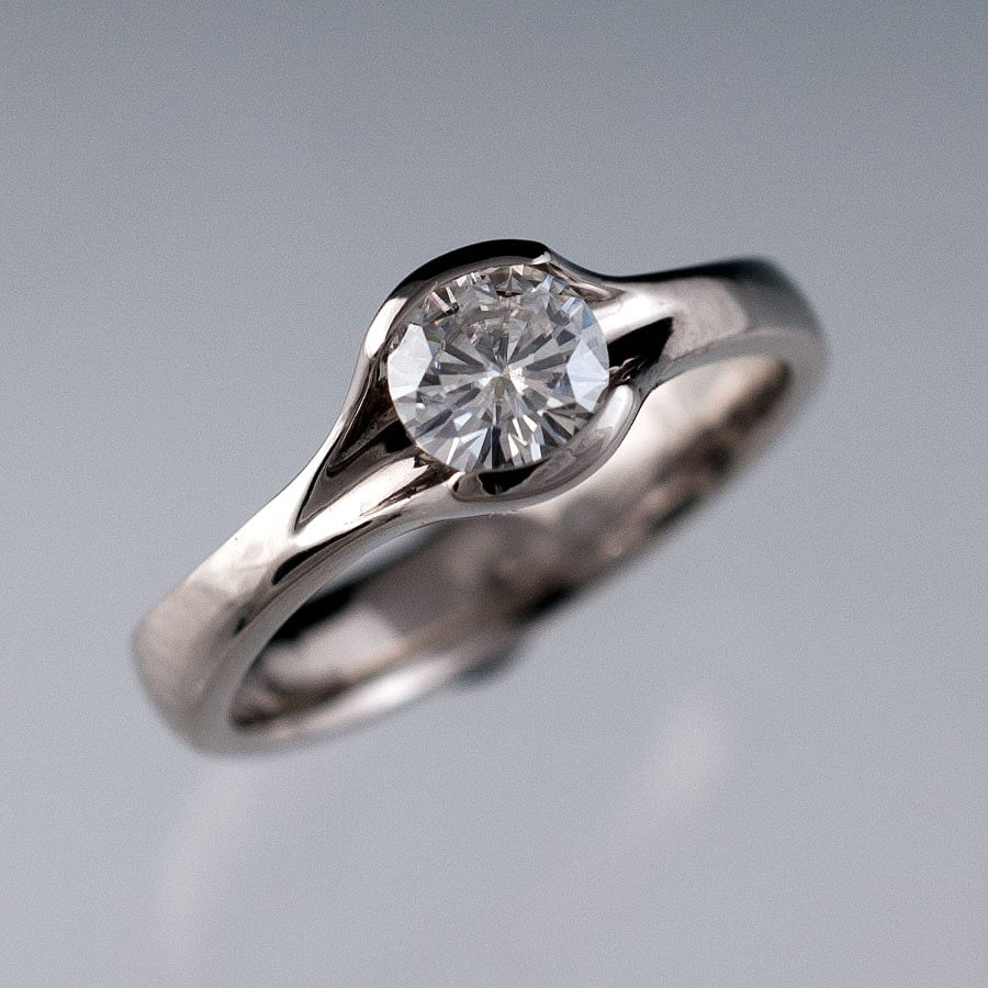 Round Moissanite Fold Engagement Ring Semi Bezel Solitaire Etsy