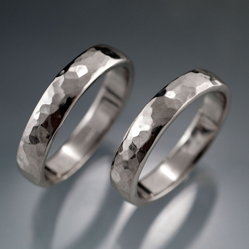 Set of 2 Narrow Hammered Wedding Bands in Sterling Silver Palladium or White Gold 2 to 4 mm width Rustic Textured Wedding Rings