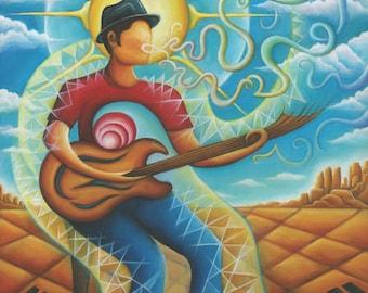 Vibration of Music as Energy, Visionary Surrealist painting print, by Tiffany Davis-Rustam