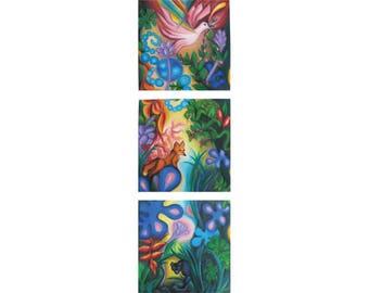 Jungle Rhapsody, Expressionist Original Painting Triptych, by Tiffany Davis-Rustam