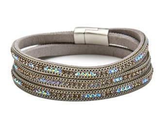 Handmade Leather Crystal Magnetic Clasp Wrap Bracelet