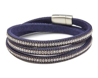 Leather Crystal Magnetic Clasp Wrap Bracelet