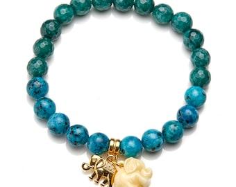 Natural Stone Elephant Bracelet