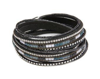 Black Handmade Leather Crystal Magnetic Clasp Wrap Bracelet/ Choker
