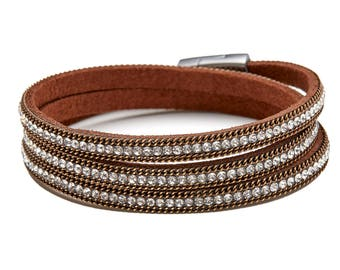 Brown Handmade Leather Silver Crystal Magnetic Clasp  Wrap Bracelet