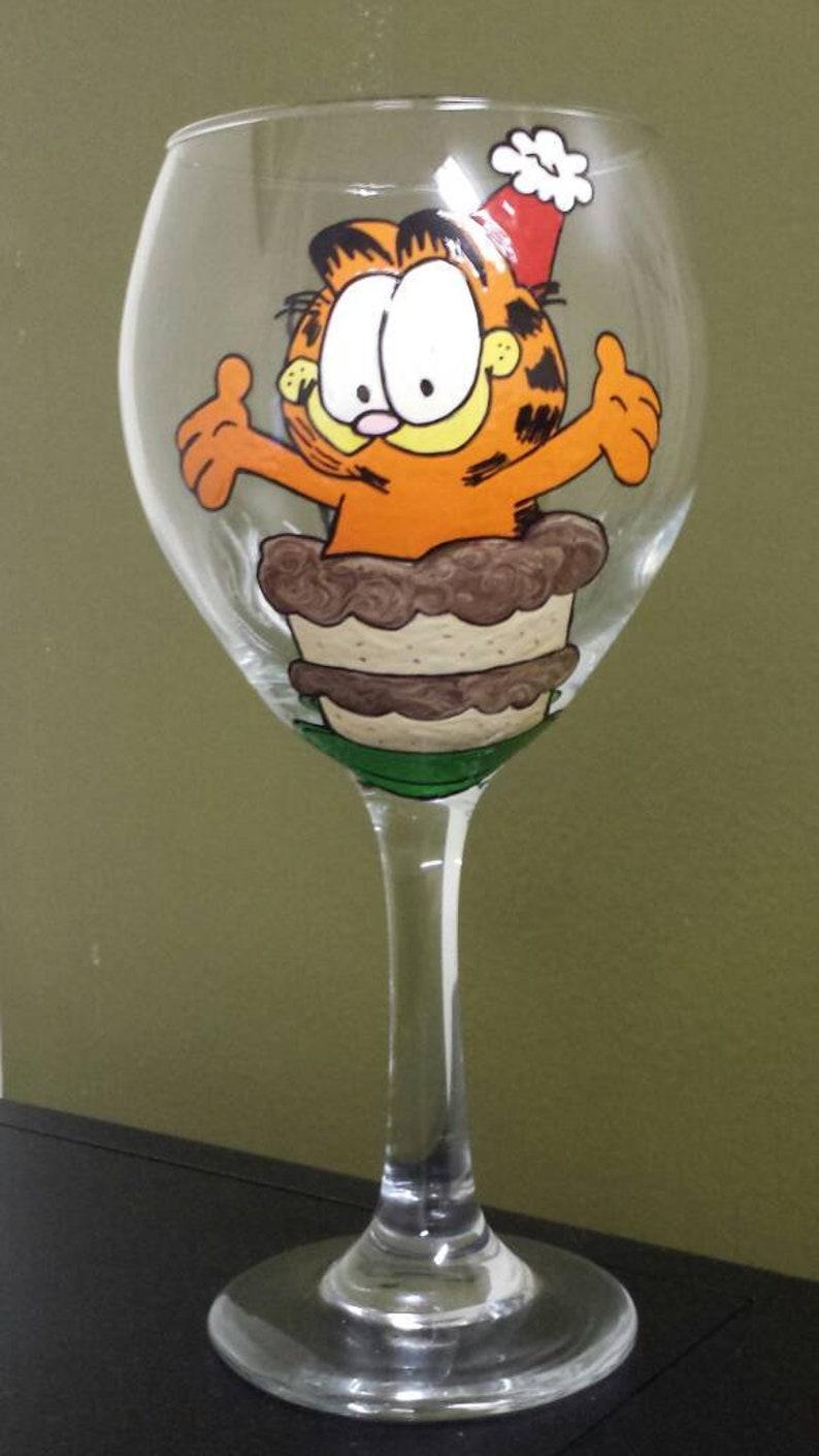 Garfield Inspired Birthday Cake Hand Painted Wine Glass