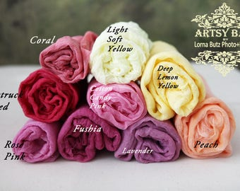 "5'x30"" colors Cotton Gauze Swaddle Wrap Prop Newborn Baby Photo Prop Cheesecloth Wraps/ Photo Prop/Newborn Photography/ Newborn Wrap"