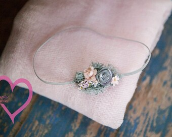 2 item set Sheer Elegance Vintage Pink n Gray Wrap Set Newborn Swaddle Wrap+Headband 100% Cotton Cheesecloth Sheer 2 item set baby 1st Photo