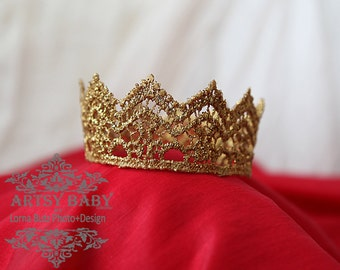 Quick Ship--Ships within 24-48 hours-Princess or Prince Newborn Crown Prop Baby 1st Photos Gold sparkle- Any Size