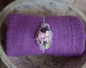 2 items Hyacinth Newborn Baby Swaddle Beautiful Plum Hyacinth Lavender Headband textures newborn Babies 1st Photo Wrap Set Headband