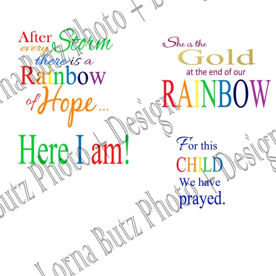 Instant download of Baby Quotes and Rainbow Baby Quote on Transparent  Backgrounds for Photoshop Elements Add Whimsey and Fun to your Photos