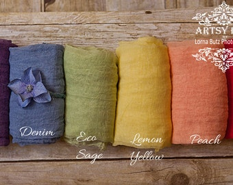 """Rainbow Baby Set~ 6 wraps x 5 feet x15"""" wide +head tie or crown Choose your colors 100% Cotton Wrap Newborn Cheesecloth Wraps 1st Photo Prop"""