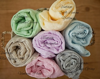 "Pick any 4~ 4  feet long 24 colors -Cotton Gauze Swaddle Blanket/ Newborn Photo Prop 48"" Wraps/ Photo Prop/Newborn Photography/ Newborn Wrap"