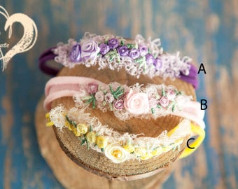 Color Choice Newborn Baby Embroidery Headband for newborn babies photo shoots newborn baby 1st Photos Cute Colorful Yellow Pink  SHIPS FREE*