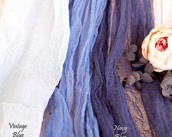 All Colors Gauze Cheesecloth Table Runner Weddings Events Arbors Arch Hand Dyed Cotton Scrim Dusty Blue Cheesecloth Runner Length Choice
