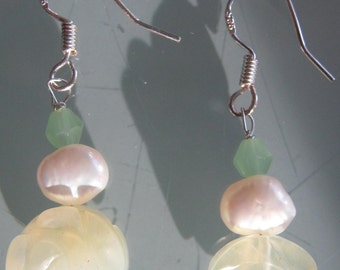 Hand carved Jade Crystal and Freshwater Pearl earrings.