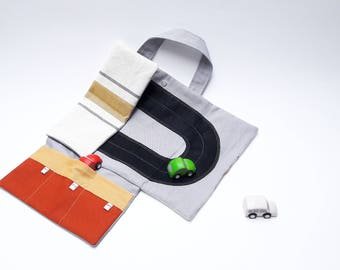 Toy car roll holder and tote little play mat for toddlers, handmade travel toy on the go in cotton