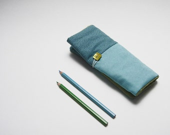 Pencil roll holder for kids with turquoise cotton and with turquoise and blue dots, pencil case