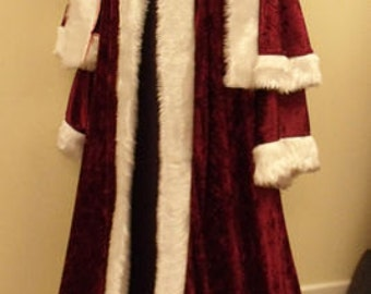 8498ba642d Maroon crushed velvet St Nicholas Father Christmas Victorian Santa Xmas Robe  with jacket and trousers included