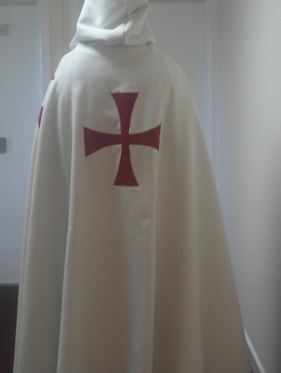 Knights Templar White cotton drill surcoat and lined cloak