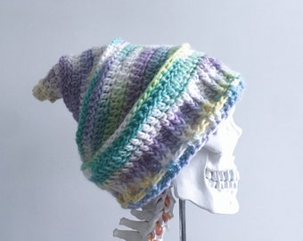 64f12d8ab07e Colourful Pastel Crochet Pixie Hat