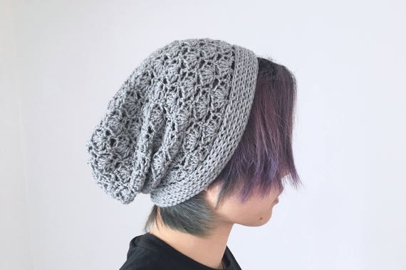 f128938bc25 Slouchy Hat for Women and Men in Light Grey Crochet Hat