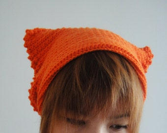 Cat Ear Beanie in Orange, Cat Ear Hat, Cat Beanie, Slouchy Beanie, Crochet Hat, Animal Hat for Adult, Gift for Her, Zilly Planet