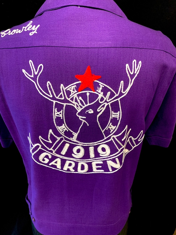 1950's Men's Purple Back Embroidered Bowling Shirt