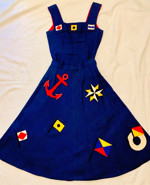 1950's Women's Nautical Top & Skirt Set  by Margie
