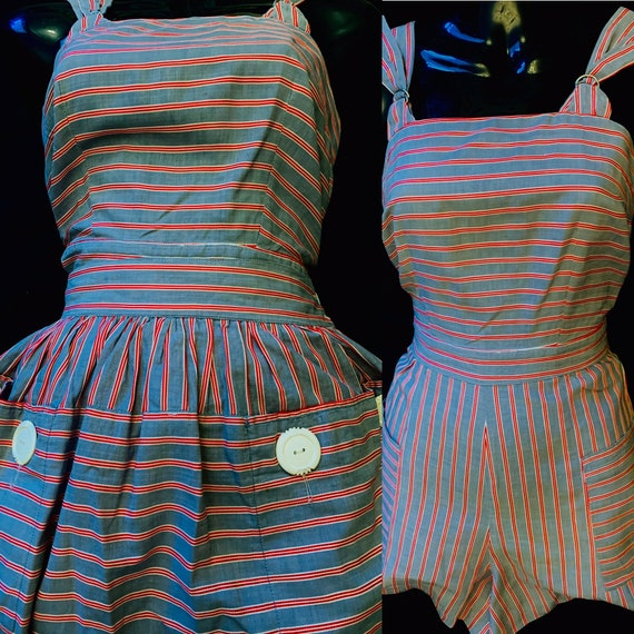 1940's Women's Grey Red & White Striped Play Suit