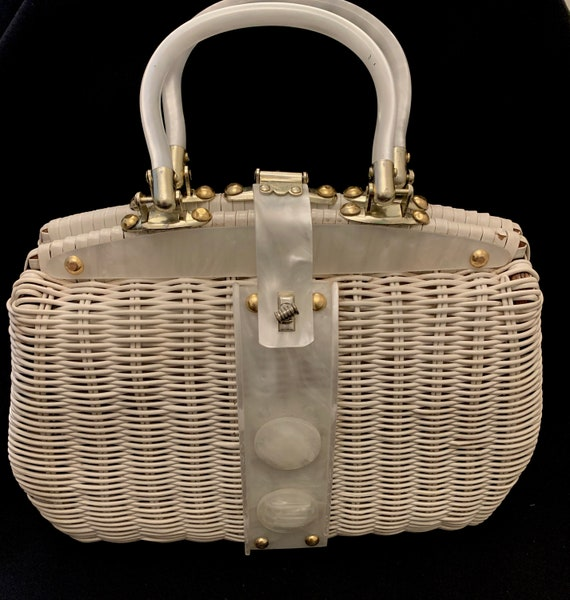 1950's Women's White Plastic Coated Wicker & Lucit