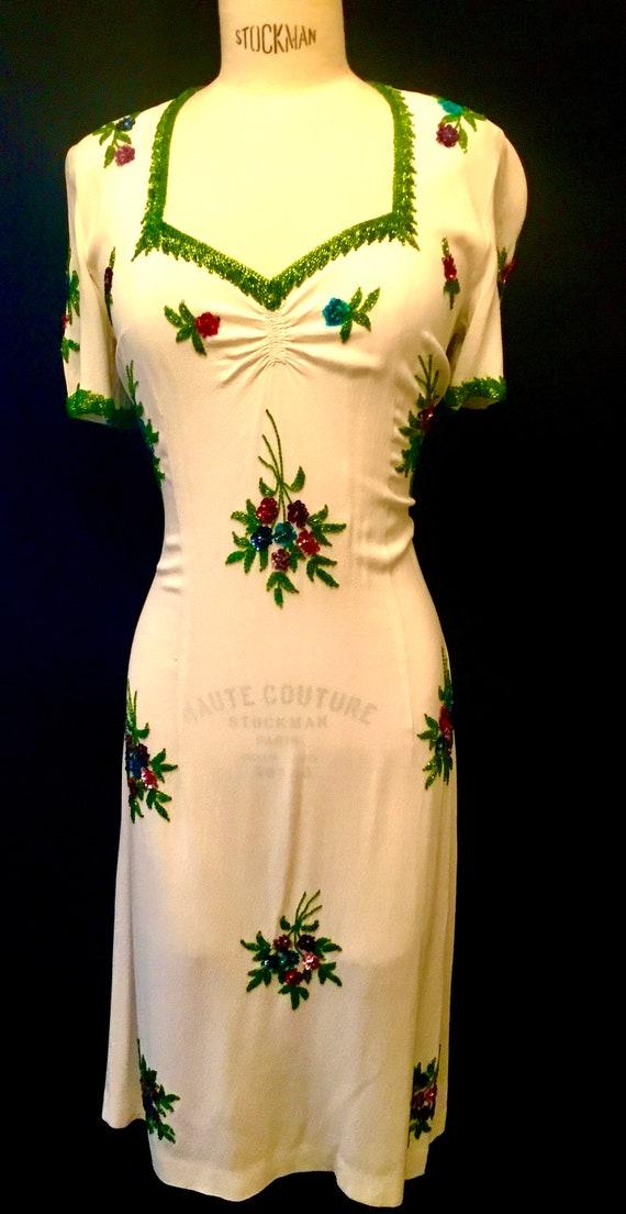 1940's Women's Floral Beaded White Crepe Dress
