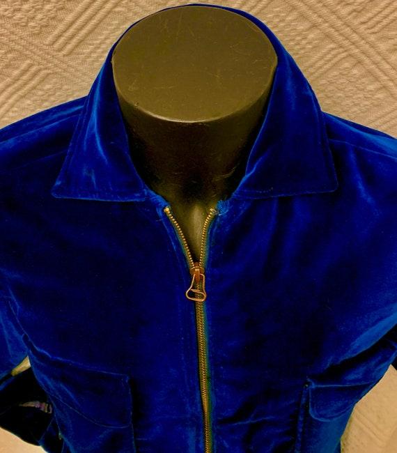 Men's 1950's Blue Velvet Cropped Jacket - image 3
