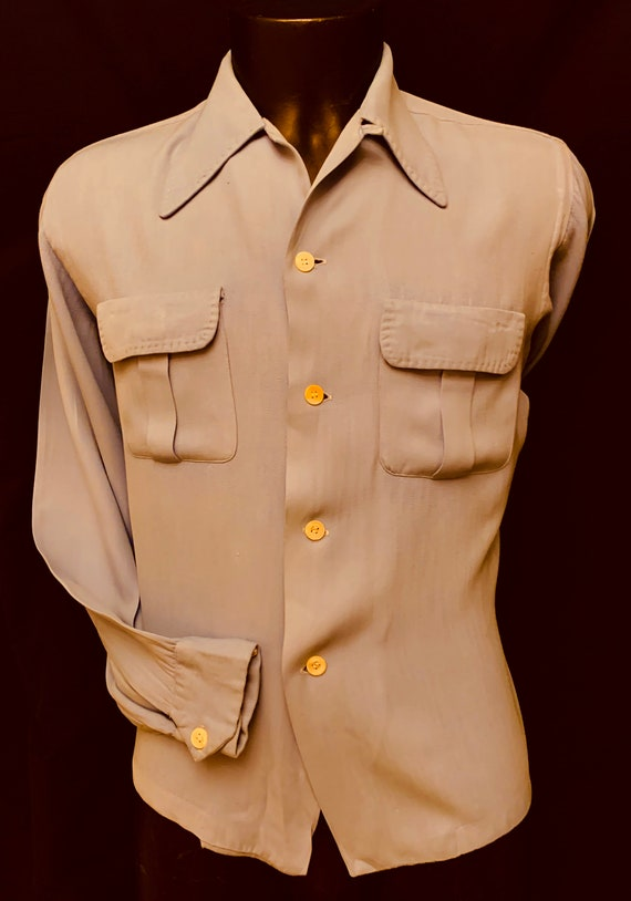 1940's Men's Pale Blue Long Sleeve Gab Shirt - Bin