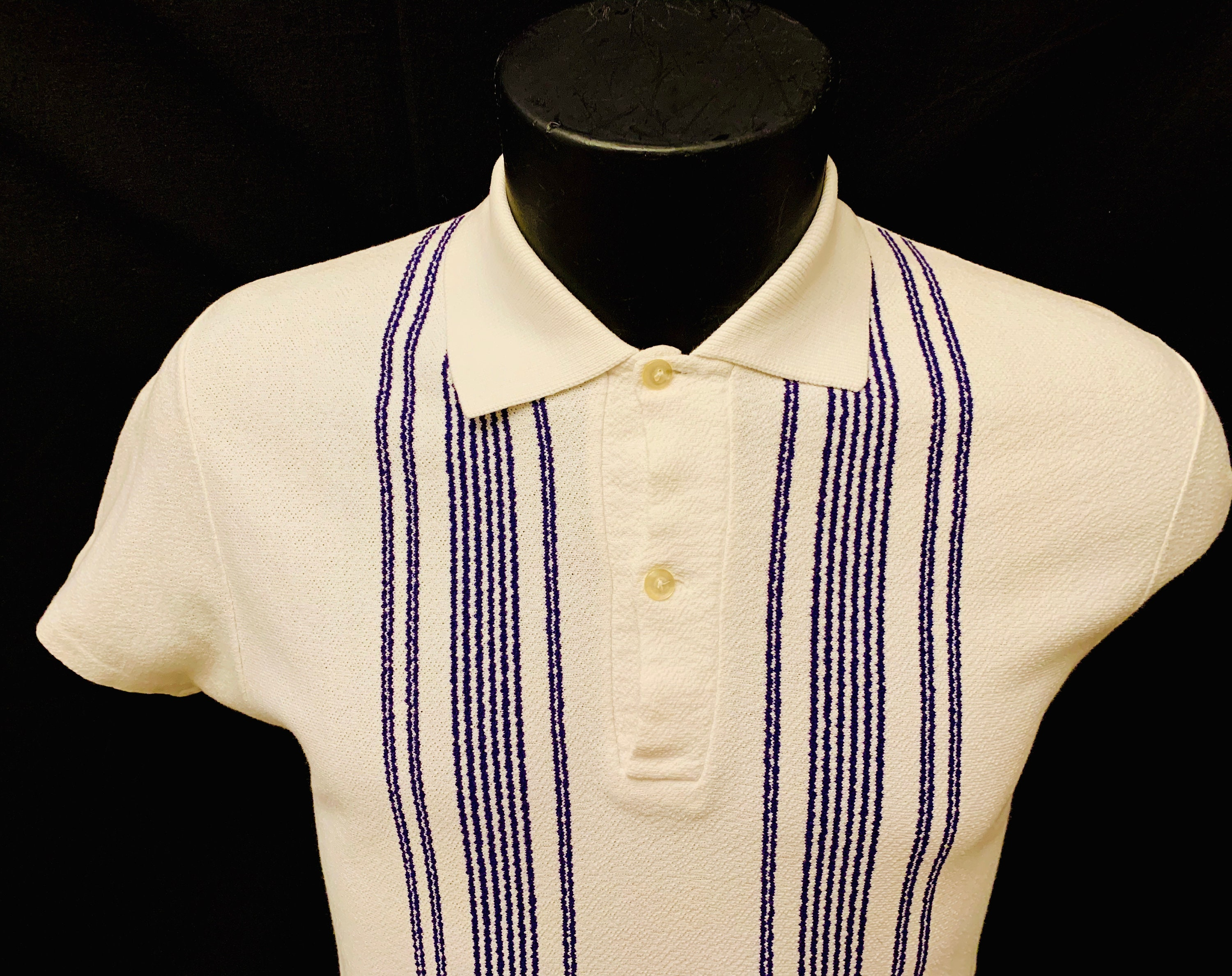 1950s Men's Ties, Bow Ties – Vintage, Skinny, Knit 1950s Mens White  Blue Vertical Striped Cotton Polo Top $139.83 AT vintagedancer.com
