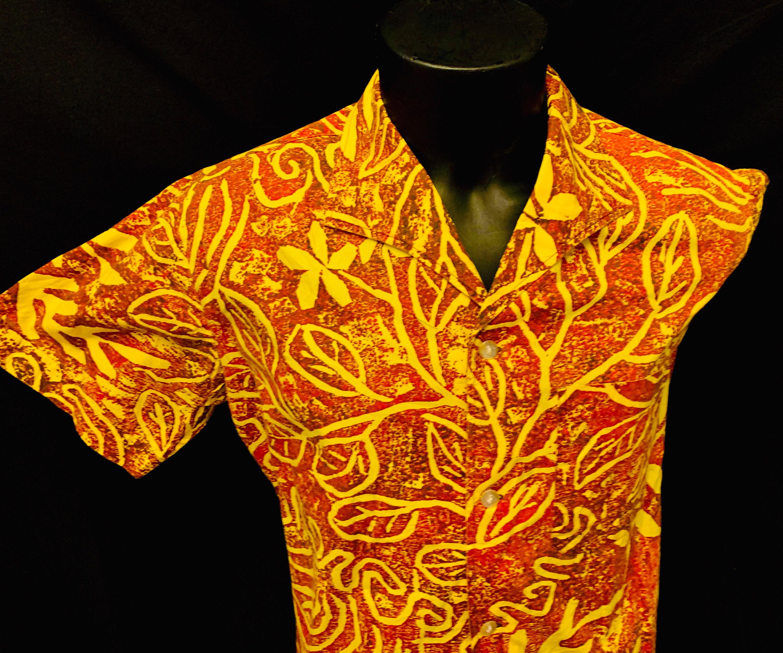 1950s Mens Hats | 50s Vintage Men's Hats 1950s Mens Yellow  Bronze French Polynesian Cotton Print Resort Shirt By Bonne Chance Tahiti $139.18 AT vintagedancer.com