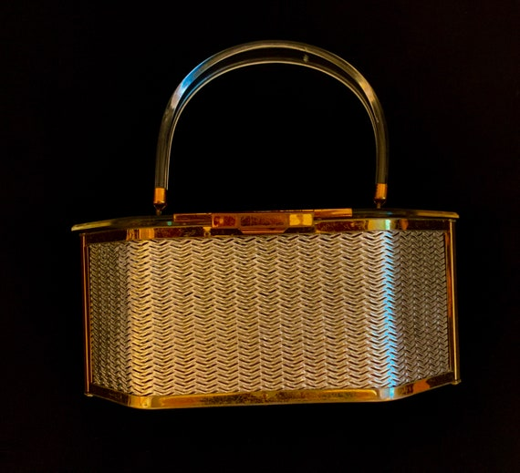 1950's Silver & Gold Metal plated Lucite Bag by Ma