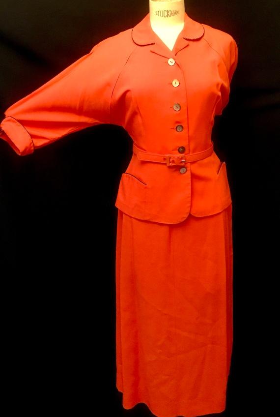 1950''s Women's Coral Pink Suit by Bobbie Brooks