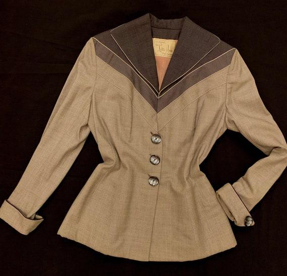 1950's Women's  Lilli Ann 3 Tone Grey Fitted Jacke