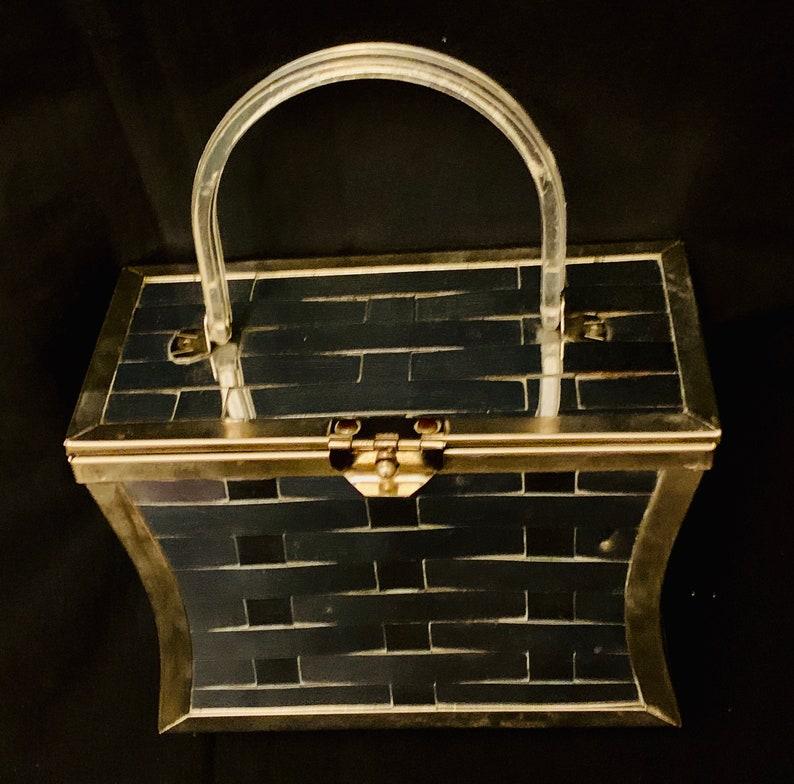 1950/'s Women/'s Silver Metal Lattice  /& Lucite Handle Box Bag