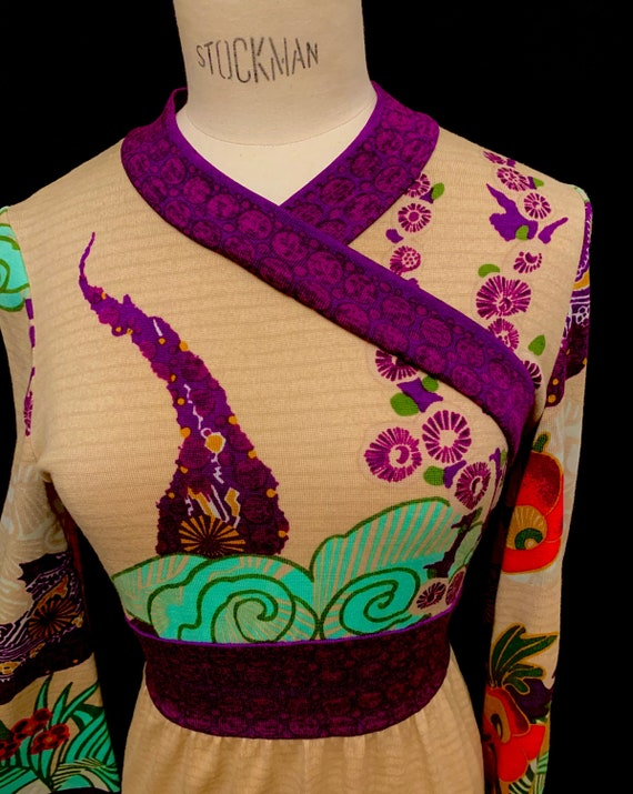 1960's Women's Full Length Oriental Print Jersey D