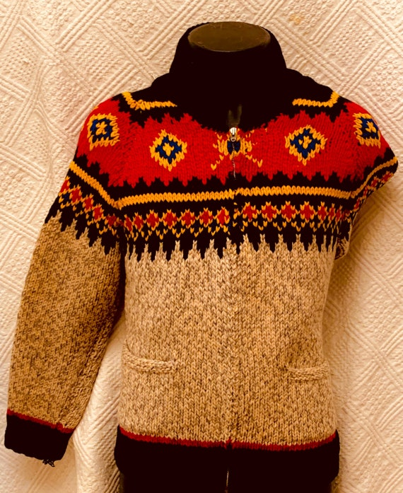 1950's Men's  Native American Indian Pattern  Wool